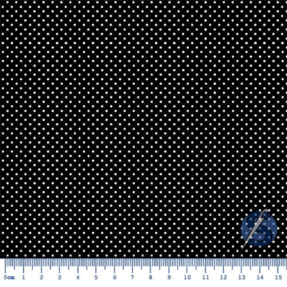 Tecido Tricoline Preto Mini Poá Preto