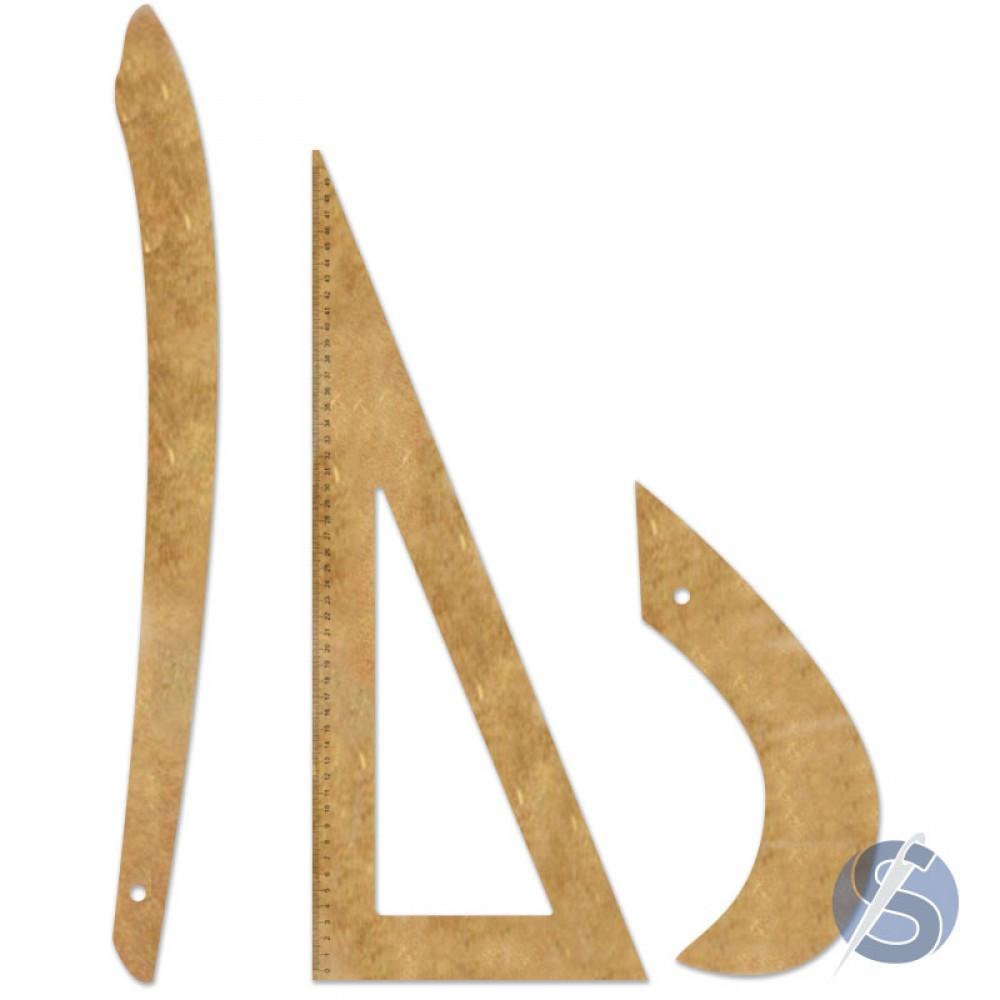 Conjunto de Réguas para Costura em MDF - 3 peças