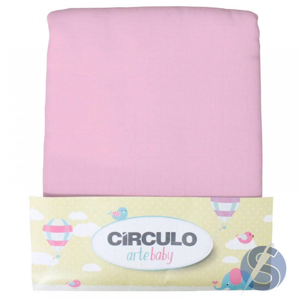 Tecido Fralda Pião Círculo Arte Baby Rosa Pacote de 5 metros
