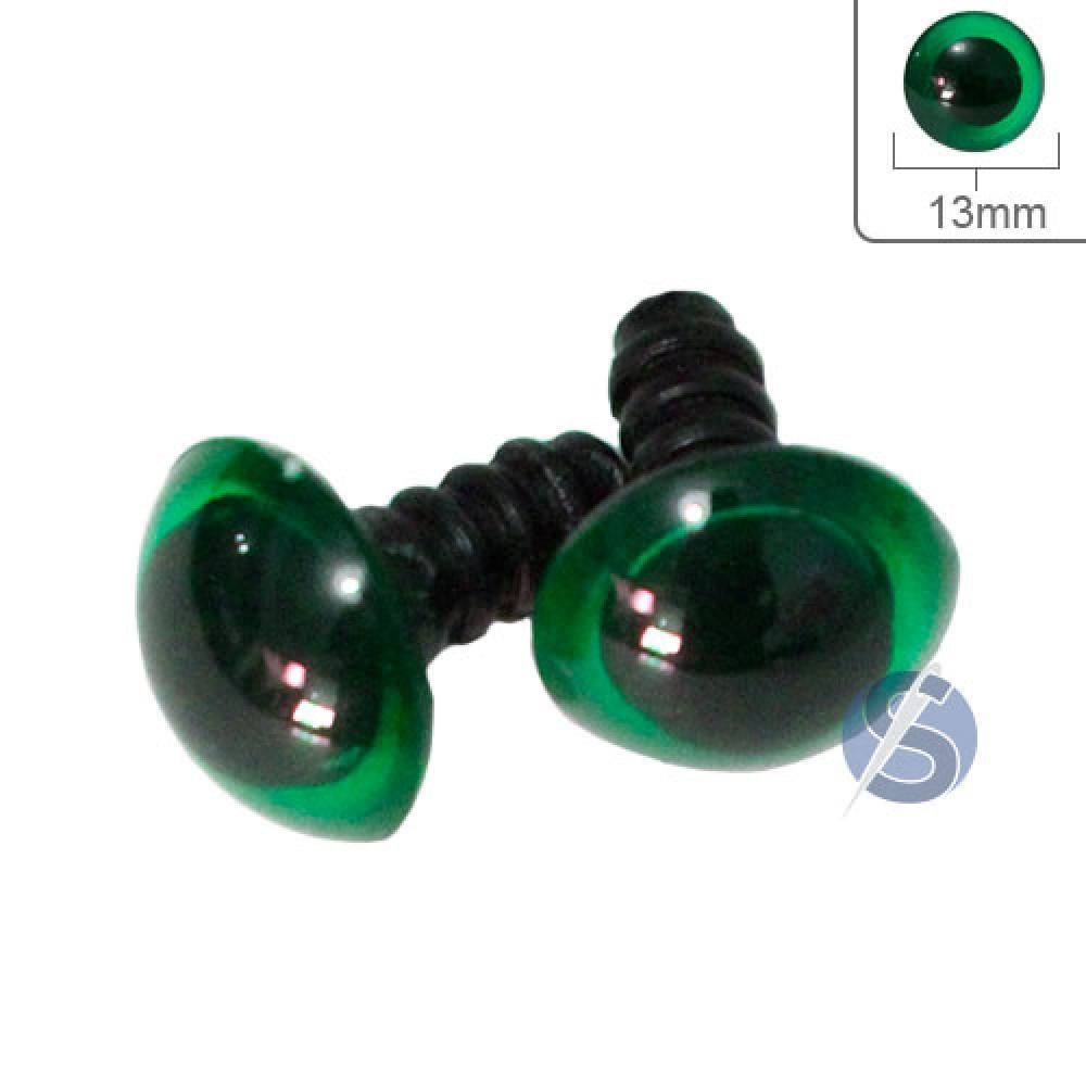 Olho verde com Trava - 13mm