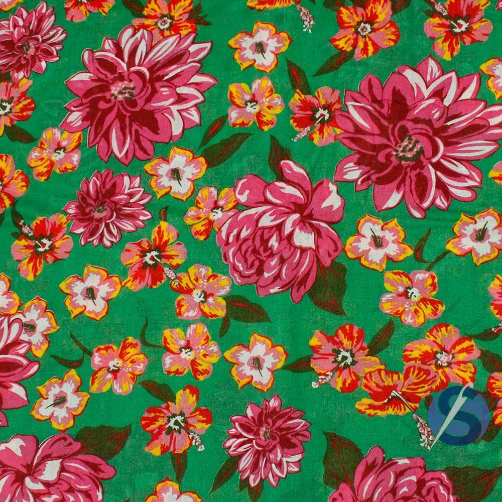 Chita Verde Flor Rosa Hibisco