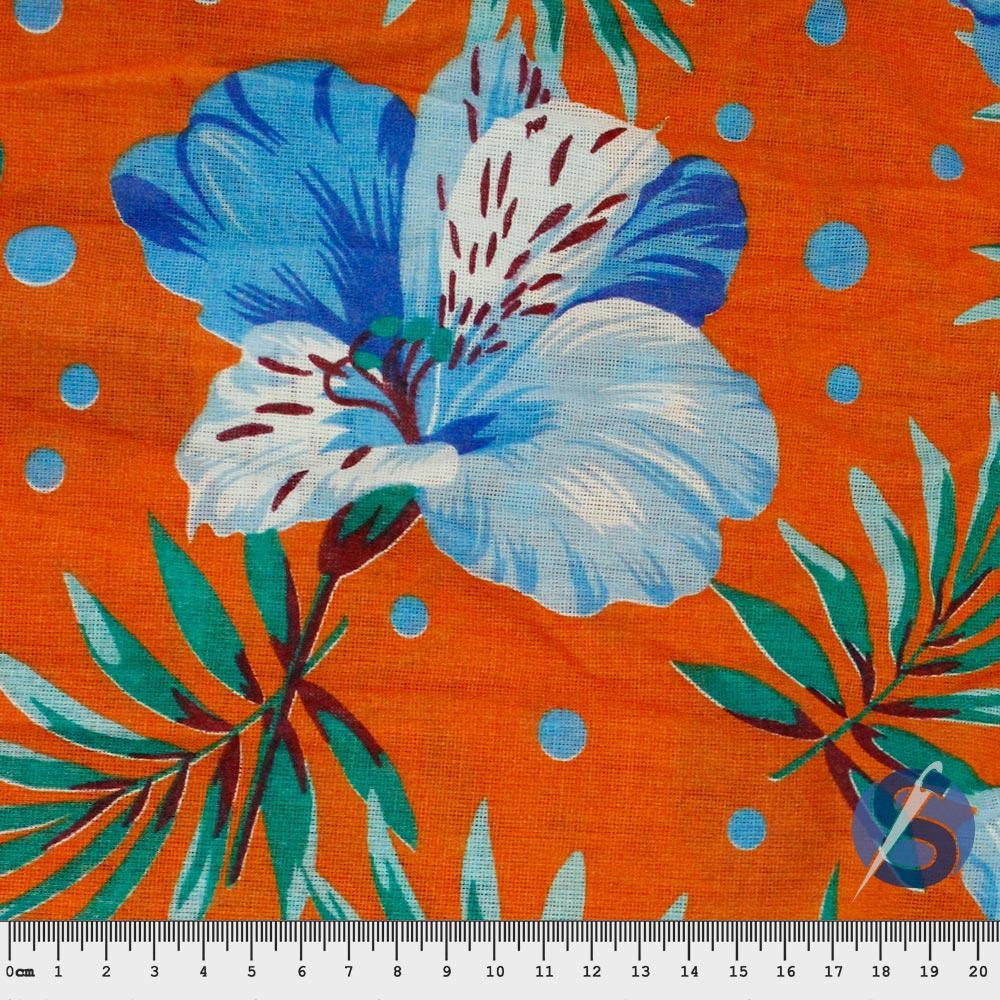 Tecido Chita Laranja Flor Azul