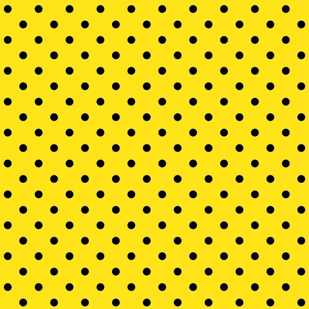 Tecido Tricoline Amarelo Poá Médio Preto