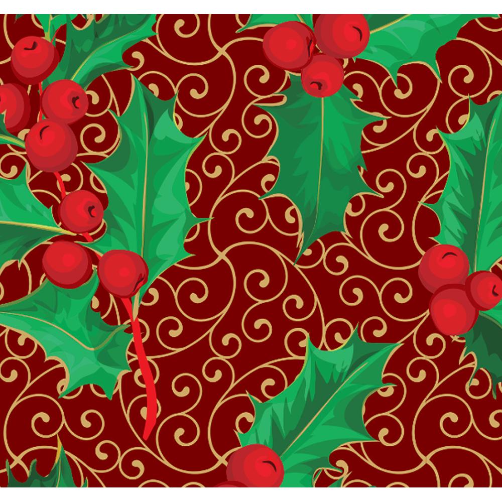 Tecido Tricoline Vermelho Folhas Natal