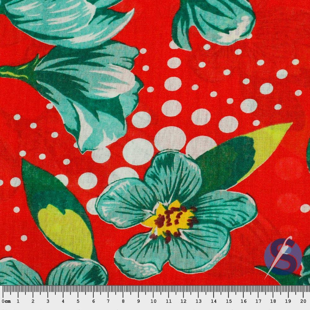 Tecido Chita Vermelha Flores Verdes