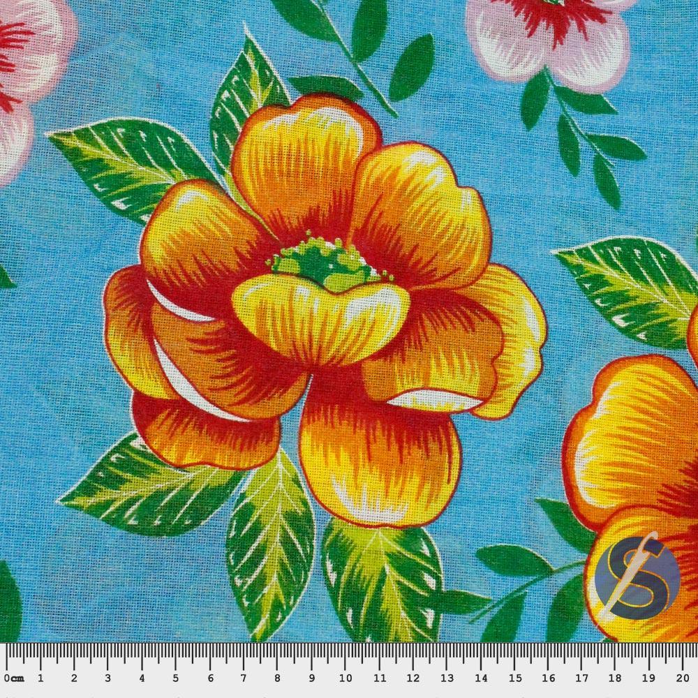Tecido Chita Azul Flores Laranja e Rosas