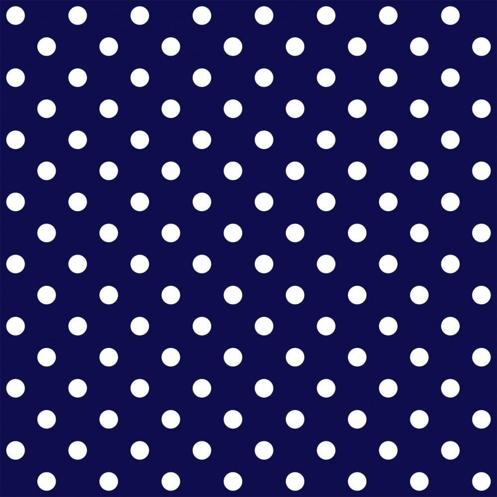 Tecido Tricoline Azul Marinho Poá Grande Branco