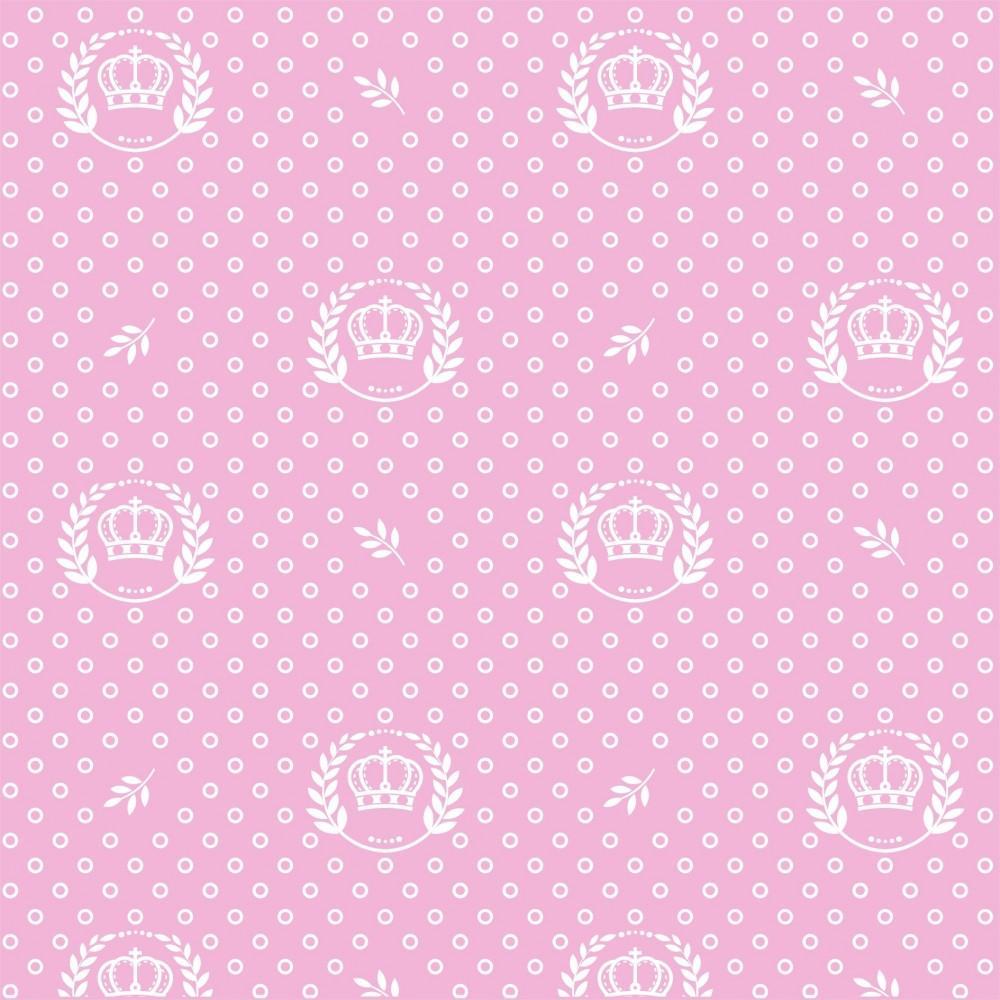 Tecido Tricoline Rosa Bebê Coroas e Ramos