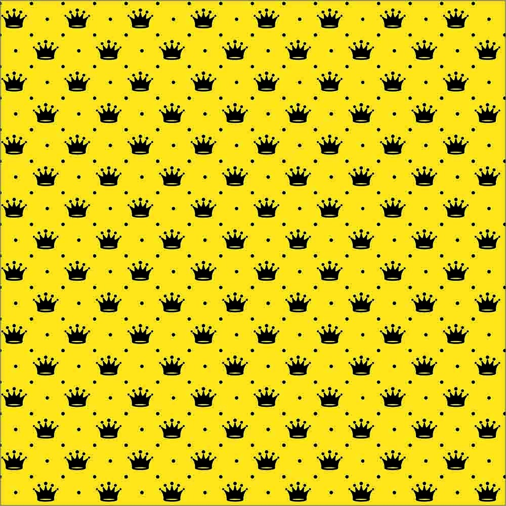 Tecido Tricoline Amarelo Poá e Coroas Preta