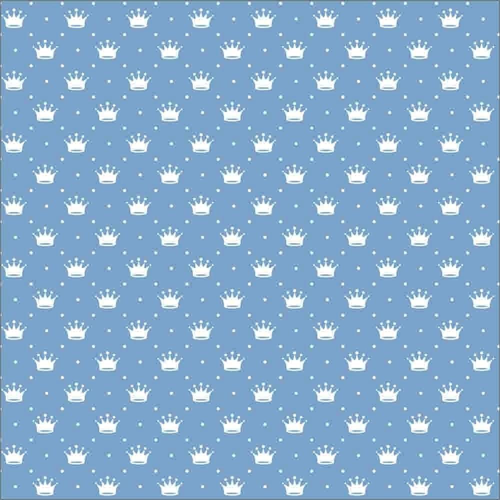 Tecido Tricoline Azul Bebê Poá e Coroas