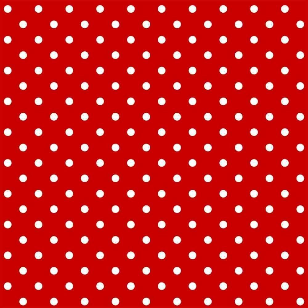 Tecido Tricoline Vermelho Poá Médio Branco