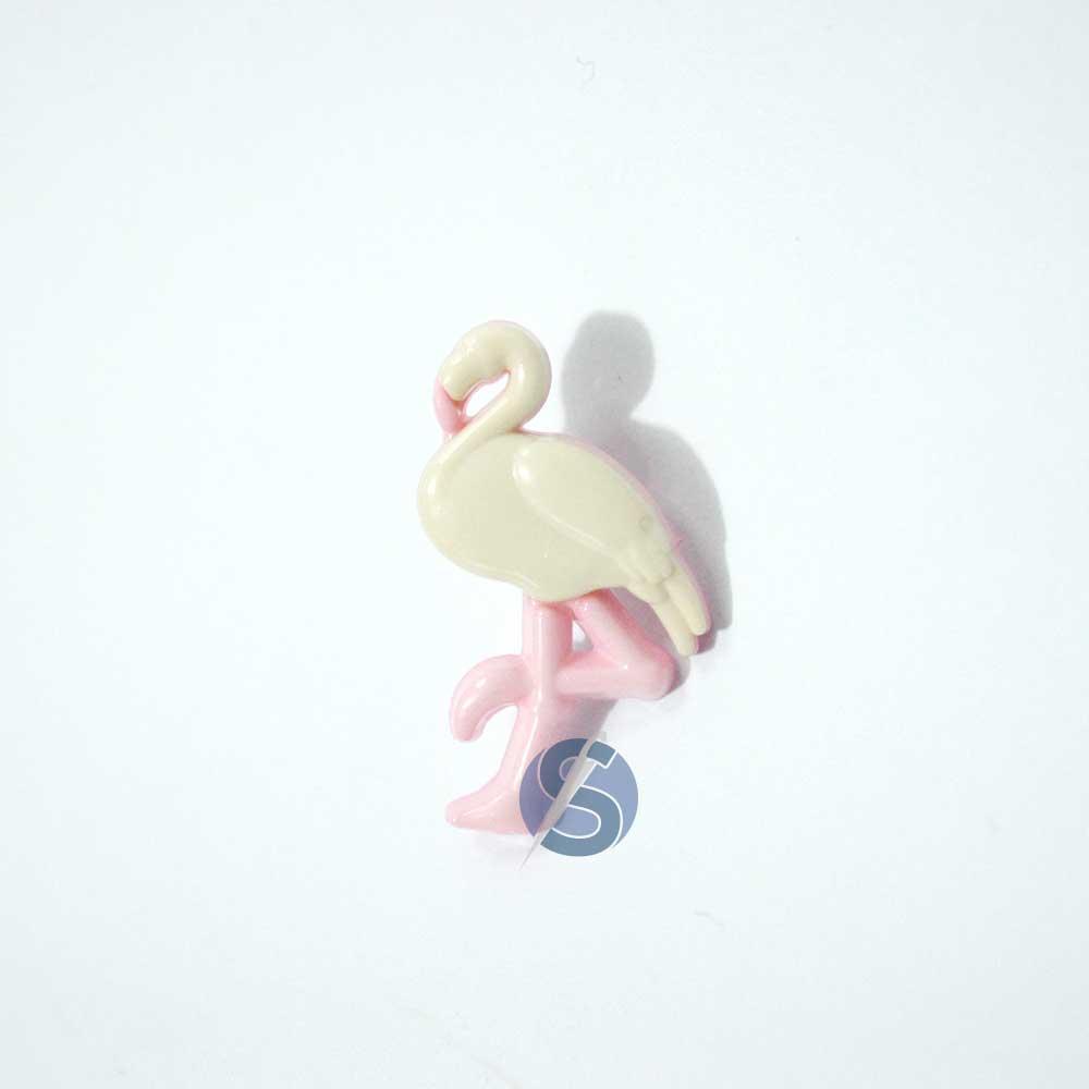 Botão Plástico Flamingo Natural com Rosa 25 Unidades