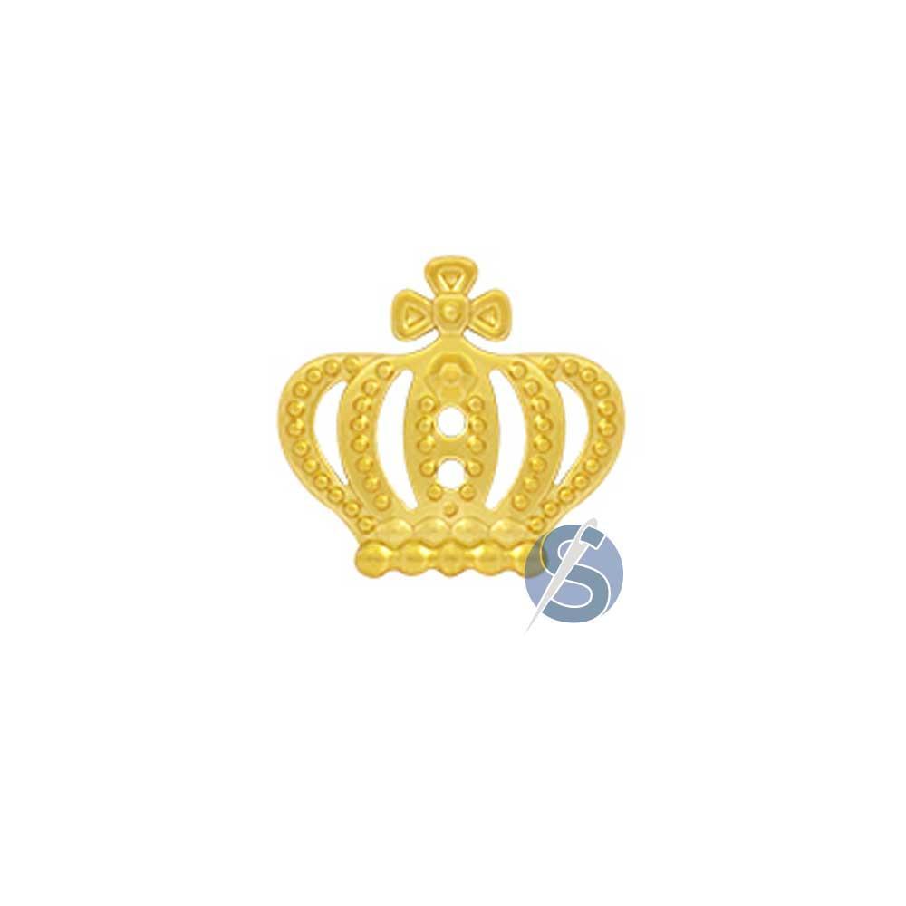 Botão Plástico Coroa Dourada com furos 25 Unidades
