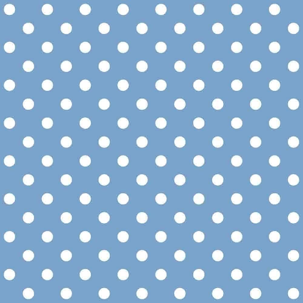 Tecido Tricoline Azul Bebê Poá Médio Branco