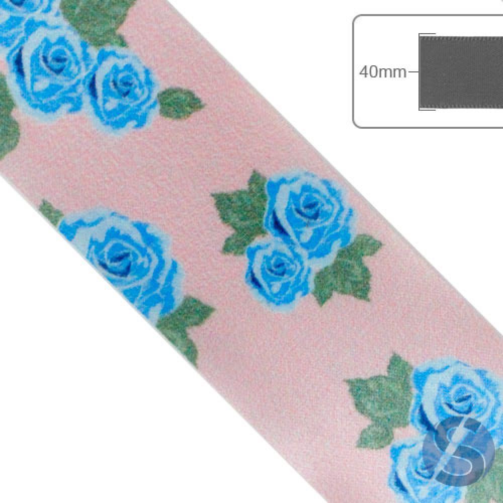 Fita de Gorgurão Flores Azuis fundo Rosa - 40mm