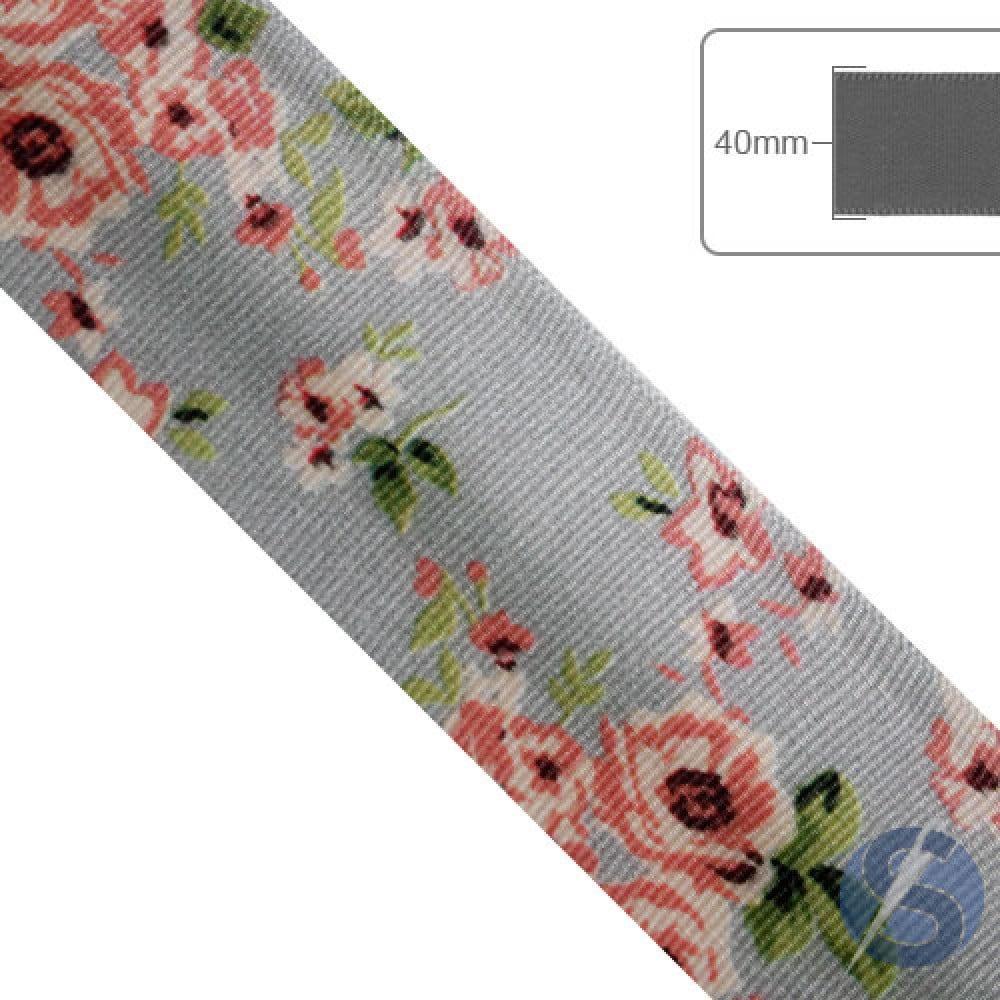 Fita de Gorgurão Flores Rosas fundo cinza - 40mm