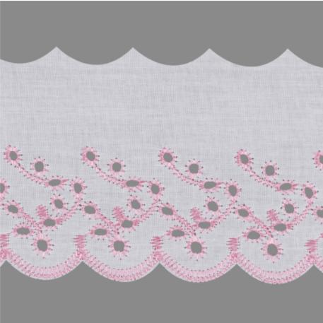 Bordado Inglês Branco Com Rosa BP087-075 -045  7,5cm x 13,70 metros