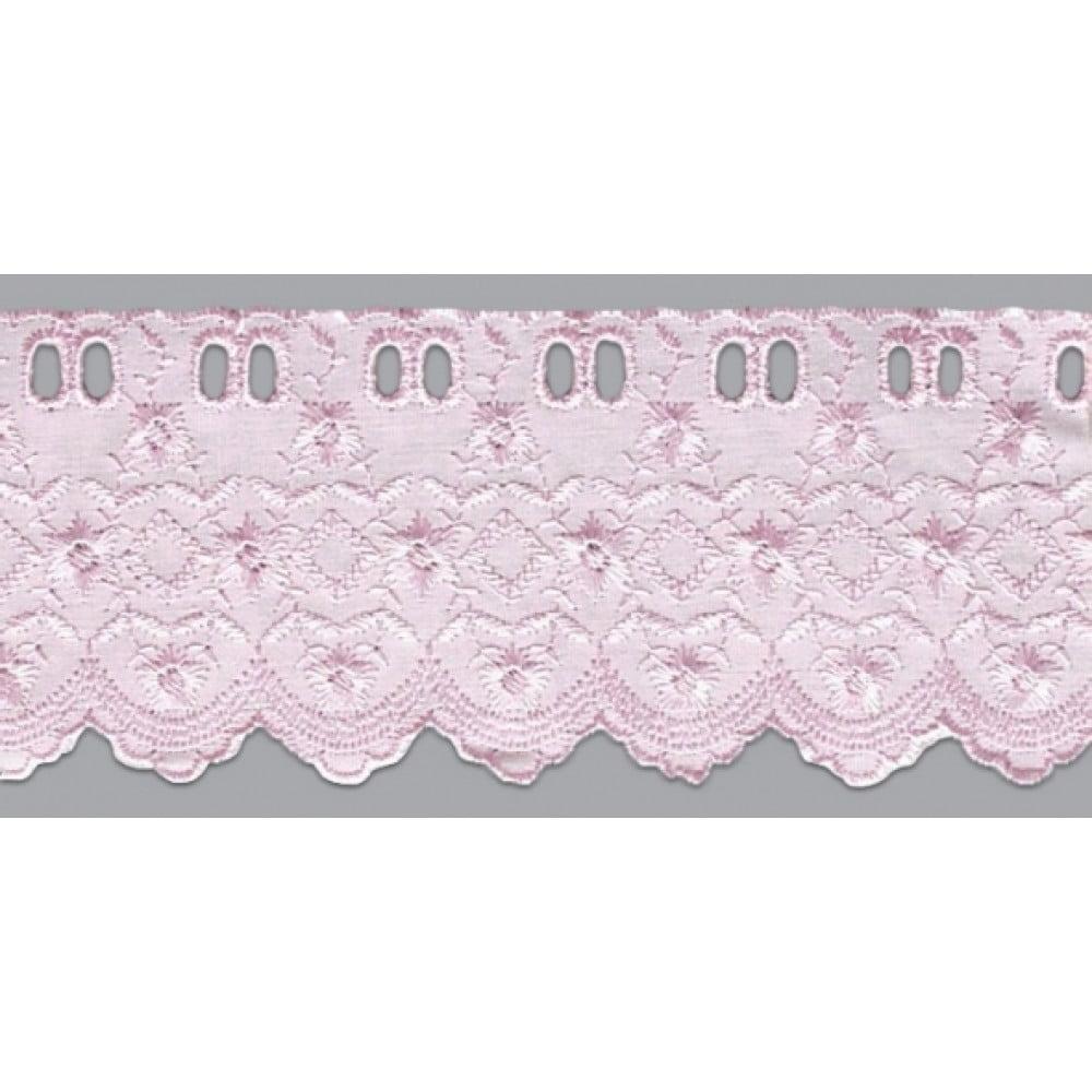 Bordado Inglês com Passa Fita Rosa PP022 - 7,5cm x 13,70 metros