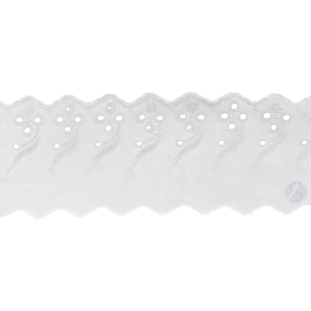 Bordado Inglês Branco BP077 001 - 7,5cm x 13,70 metros