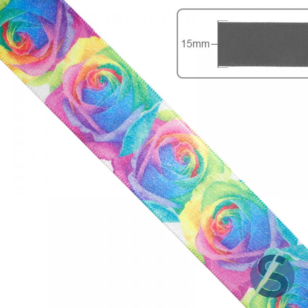 Fita de Cetim Multicolor Flores Gitex 15mm