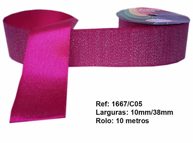 Fita Decorativa Rosa Pink Glitter 38 mm