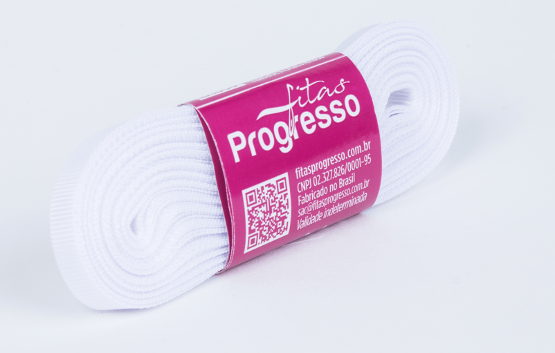 Fita Gorgurão Progresso Branca 7mm