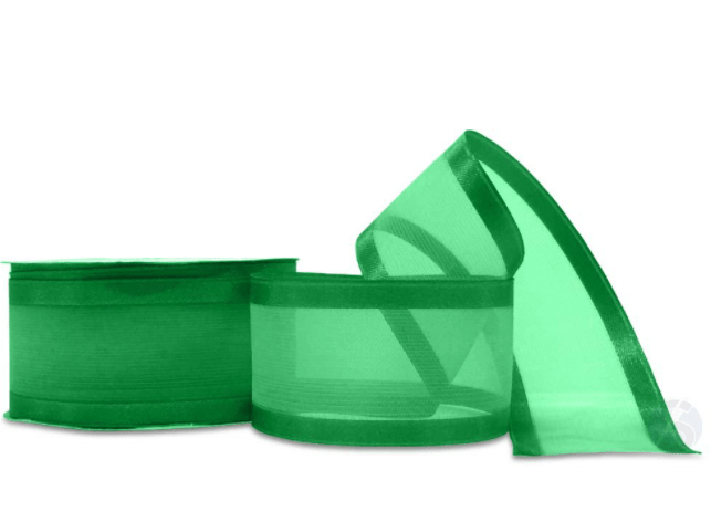 Fita de Voal Verde Bandeira Borda De Cetim