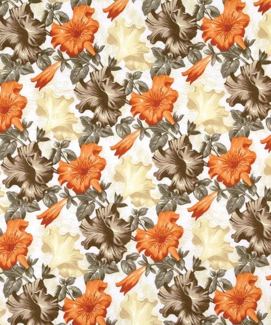 Tecido Impermeável Belize Floral Bege e Laranja