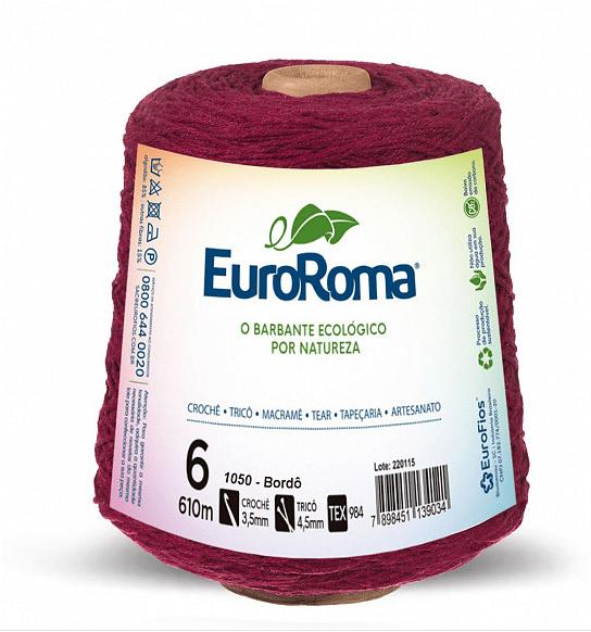 Barbante EuroRoma Nº6 Bordô 600 Gramas