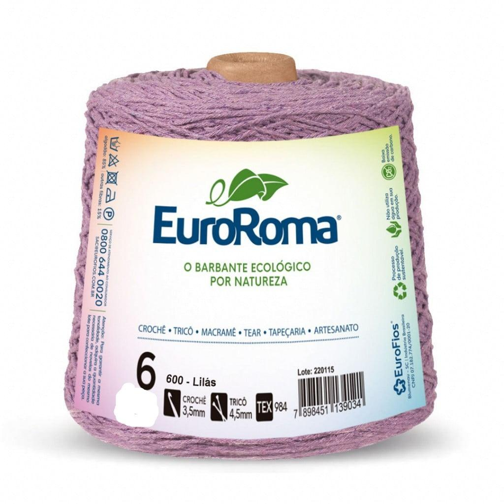 Barbante EuroRoma Nº6 Lilás Claro 600 Gramas