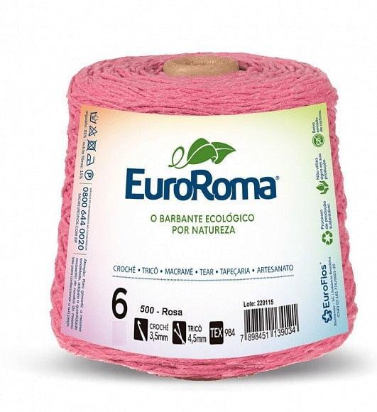 Barbante EuroRoma Nº6 Rosa 600 Gramas
