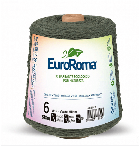 Barbante EuroRoma Nº6 Verde Militar 600 Gramas