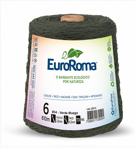 Barbante EuroRoma Nº6 Verde Musgo 600 Gramas