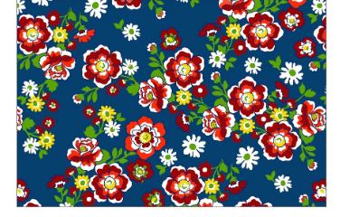 Chita Azul Marinho Flores Vermelha