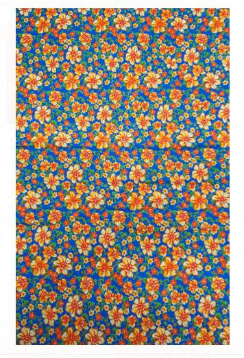 Tecido Chita Azul Flor Laranja