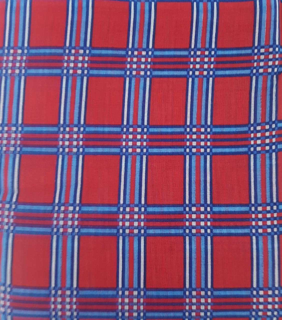 Tecido Chita Vermelho Xadrez Azul