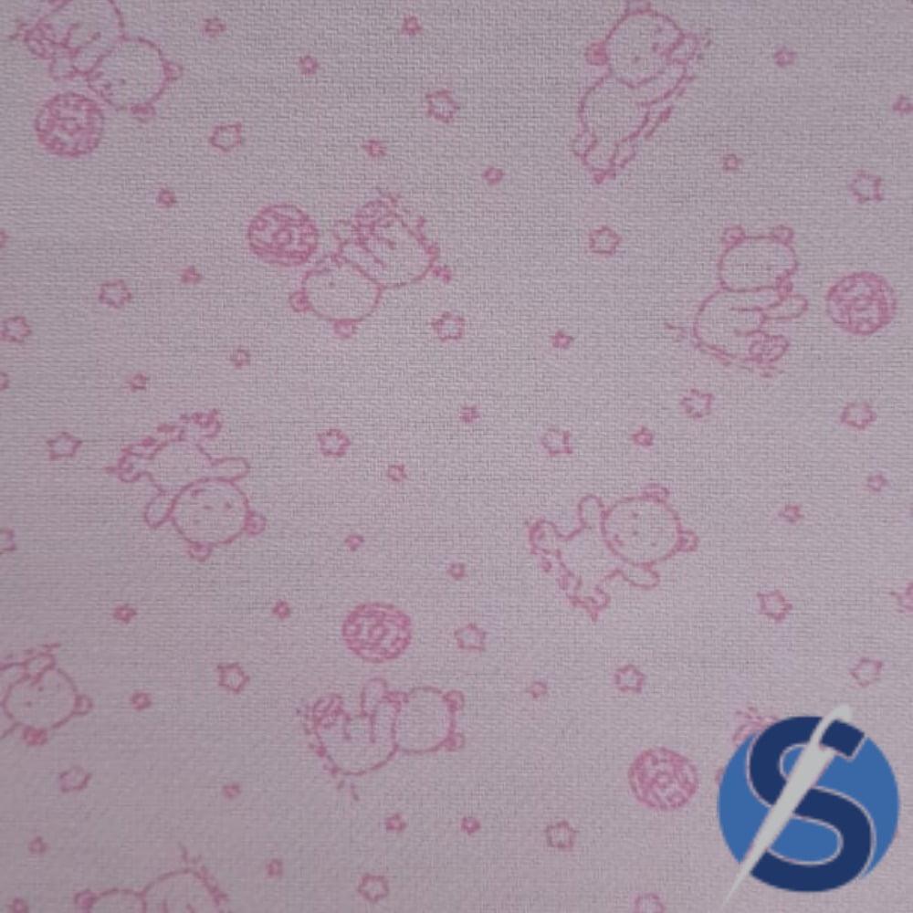 Tecido Flanela Sarja Estampada Rosa Ted