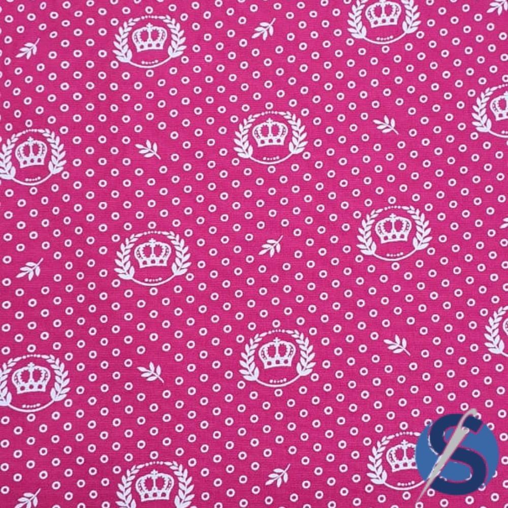 Tecido Tricoline Rosa Pink Coroas e Ramos Branca