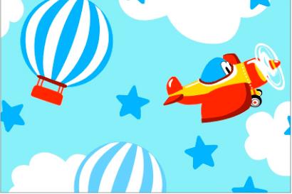 Tecido Tricoline Azul Avião e Balão