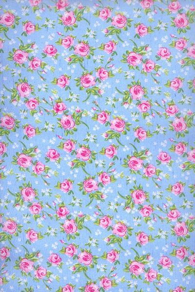 Tecido Tricoline Azul Flor Rosa