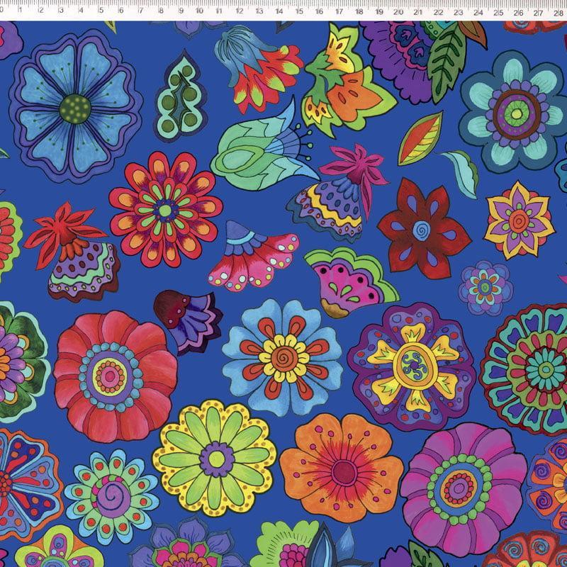 Tecido Tricoline Azul Flores Digital Marina Landi & Valeria Cervetto