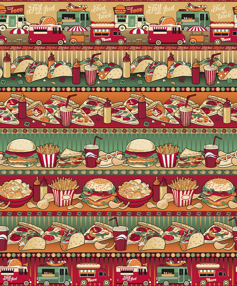 Tecido Tricoline Barrado Fast Food