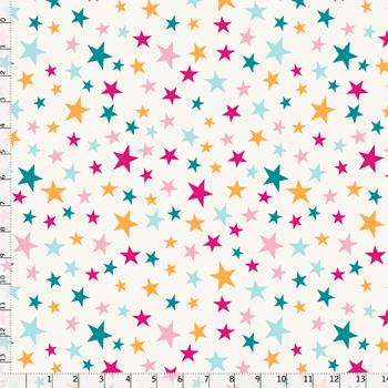 Tecido Tricoline Bege Estrelas Coloridas