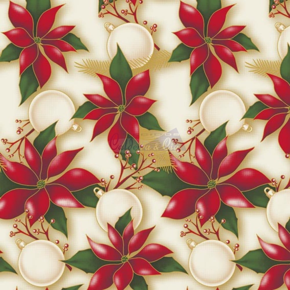Tecido Tricoline Bege Flor Natal