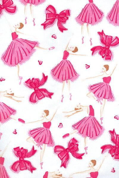 Tecido Tricoline Branco Bailarina Pink