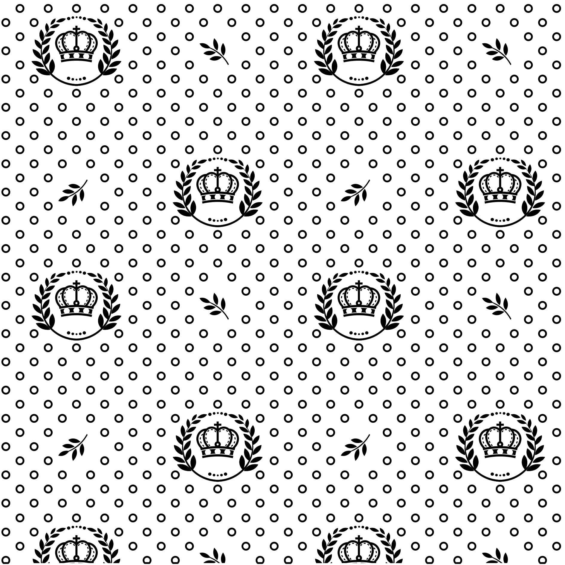 Tecido Tricoline Branco Coroas e Ramos Preto