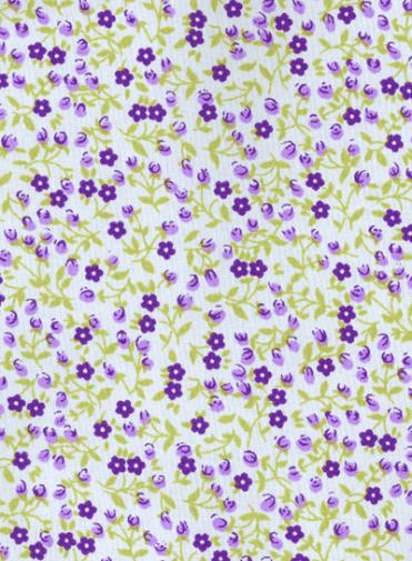 Tecido Tricoline Branco Florzinhas Roxa