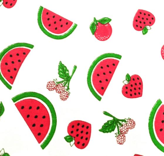 Tecido Tricoline Branco Frutas