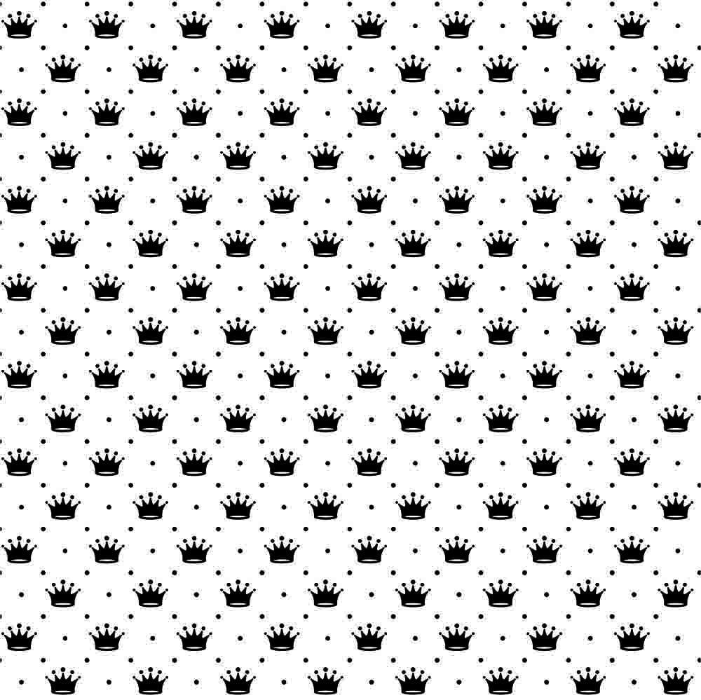 Tecido Tricoline Branco Poá e Coroas Preta