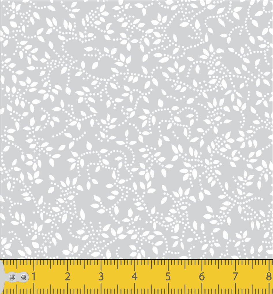 Tecido Tricoline Cinza Folhas Branca